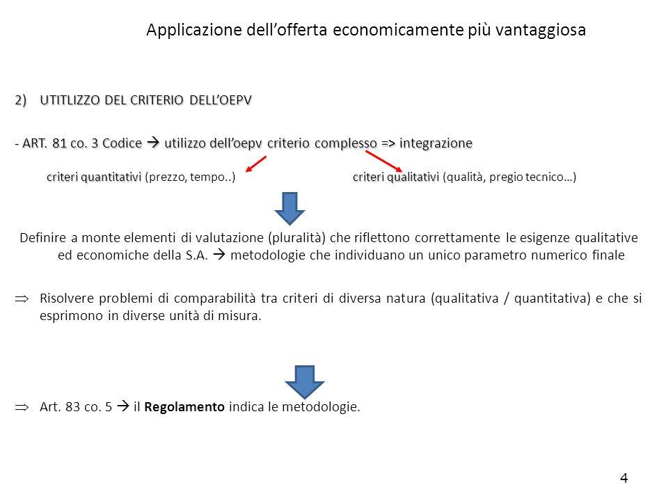 4 Applicazione dellofferta economicamente più vantaggiosa 2)UTITLIZZO DEL CRITERIO DELLOEPV - ART. 81 co. 3 Codice utilizzo delloepv criterio compless