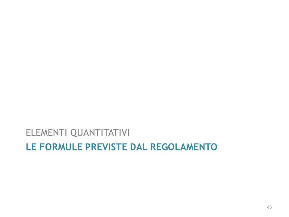 LE FORMULE PREVISTE DAL REGOLAMENTO ELEMENTI QUANTITATIVI 43
