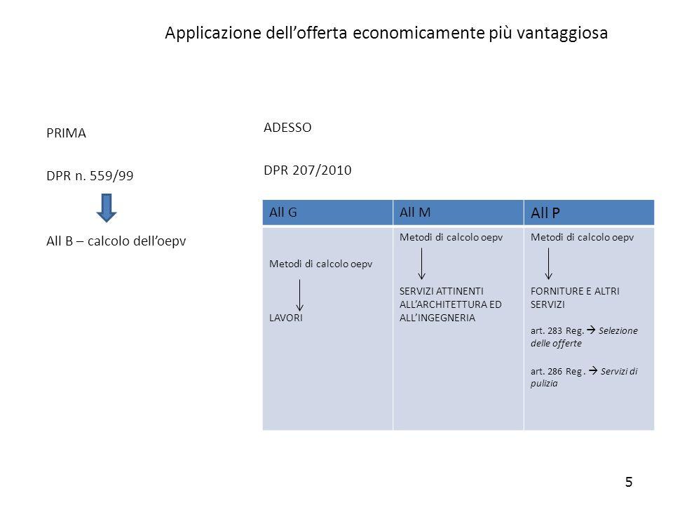 Applicazione dellofferta economicamente più vantaggiosa PRIMA DPR n. 559/99 All B – calcolo delloepv ADESSO DPR 207/2010 5 All GAll M All P Metodi di