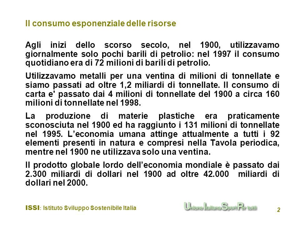 ISSI : Istituto Sviluppo Sostenibile Italia 2 Il consumo esponenziale delle risorse Agli inizi dello scorso secolo, nel 1900, utilizzavamo giornalment