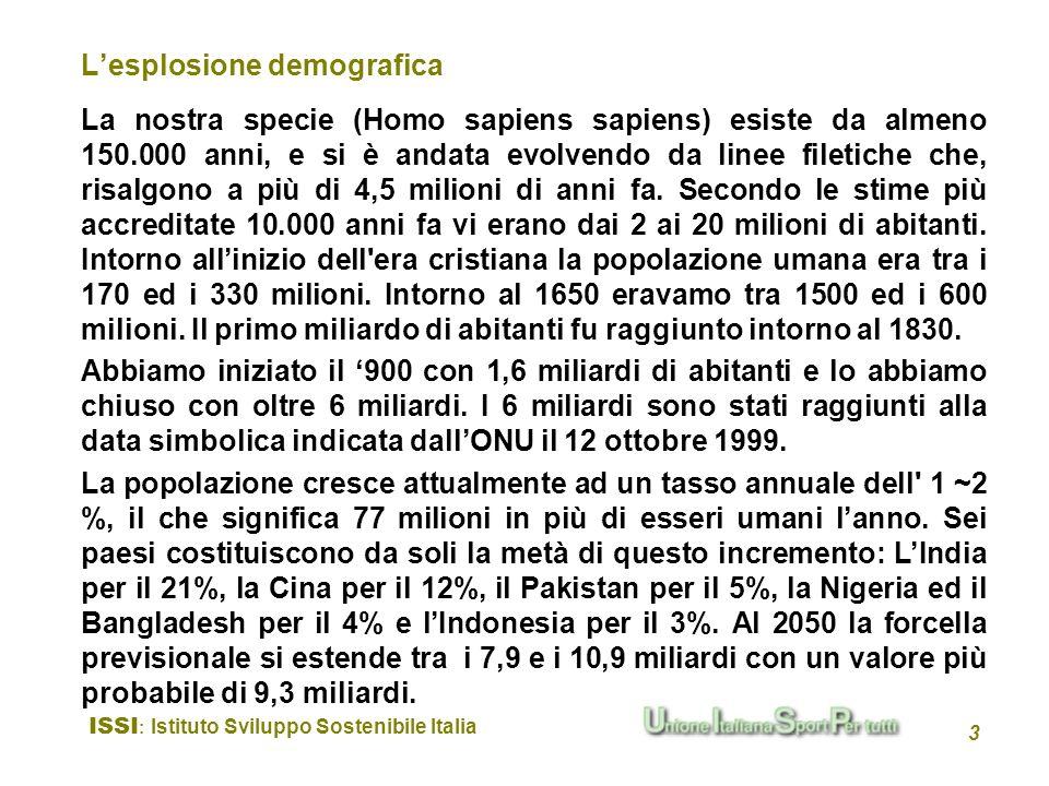 ISSI : Istituto Sviluppo Sostenibile Italia 3 Lesplosione demografica La nostra specie (Homo sapiens sapiens) esiste da almeno 150.000 anni, e si è an