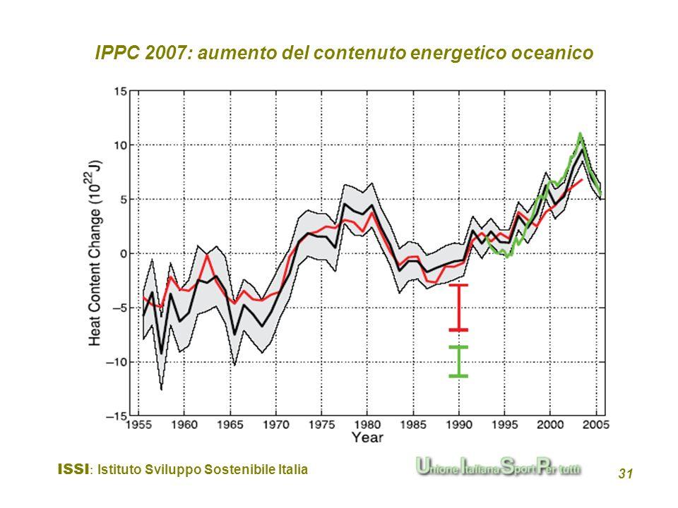 ISSI : Istituto Sviluppo Sostenibile Italia 31 IPPC 2007: aumento del contenuto energetico oceanico