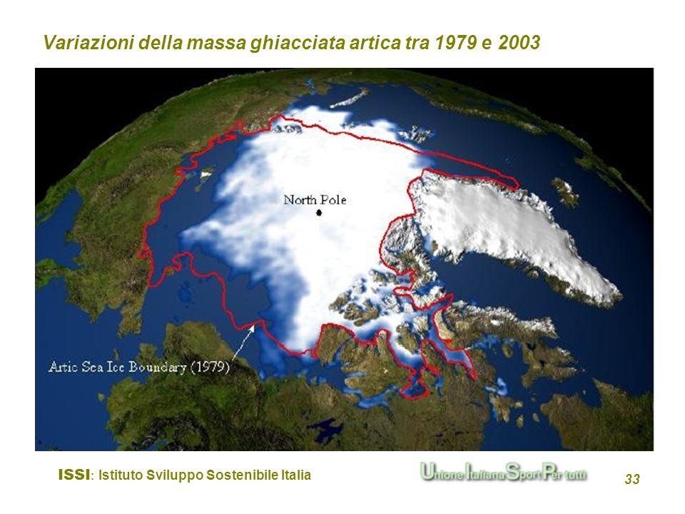 ISSI : Istituto Sviluppo Sostenibile Italia 33 Variazioni della massa ghiacciata artica tra 1979 e 2003