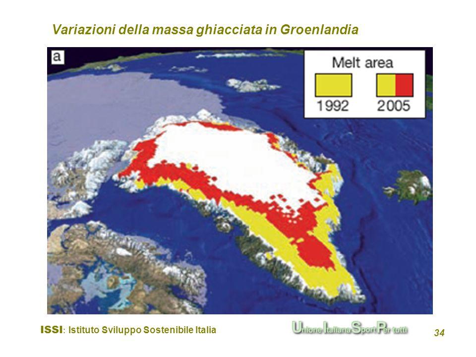 ISSI : Istituto Sviluppo Sostenibile Italia 34 Variazioni della massa ghiacciata in Groenlandia