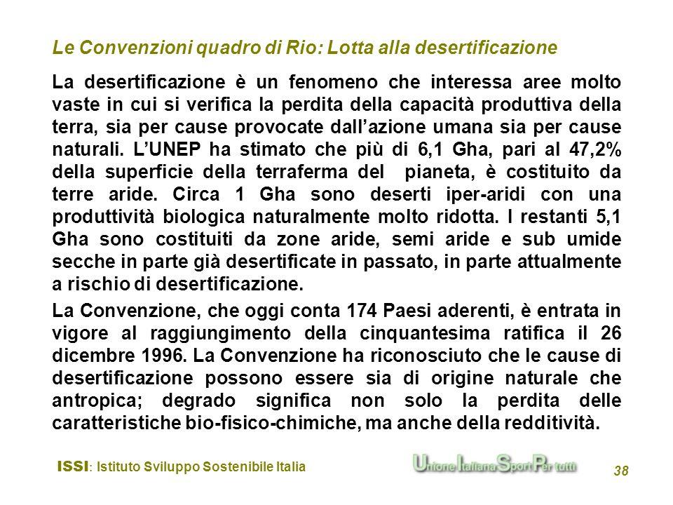 ISSI : Istituto Sviluppo Sostenibile Italia 38 La desertificazione è un fenomeno che interessa aree molto vaste in cui si verifica la perdita della ca