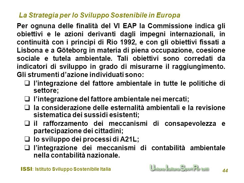 ISSI : Istituto Sviluppo Sostenibile Italia 44 Per ognuna delle finalità del VI EAP la Commissione indica gli obiettivi e le azioni derivanti dagli im