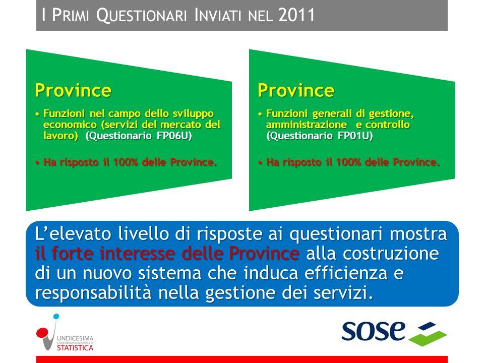 I P RIMI Q UESTIONARI I NVIATI NEL 2011 Lelevato livello di risposte ai questionari mostra il forte interesse delle Province alla costruzione di un nu