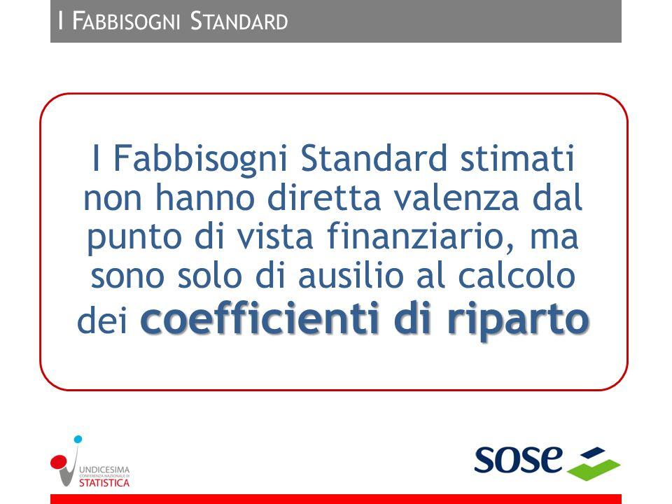 I F ABBISOGNI S TANDARD coefficienti di riparto I Fabbisogni Standard stimati non hanno diretta valenza dal punto di vista finanziario, ma sono solo d