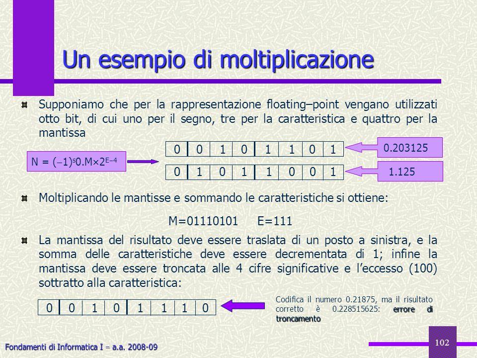 Fondamenti di Informatica I a.a. 2008-09 102 Supponiamo che per la rappresentazione floating–point vengano utilizzati otto bit, di cui uno per il segn