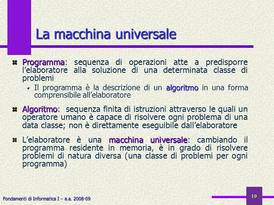 Fondamenti di Informatica I a.a. 2008-09 19 La macchina universale Programma Programma: sequenza di operazioni atte a predisporre lelaboratore alla so