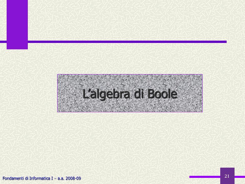 Fondamenti di Informatica I a.a. 2008-09 21 Lalgebra di Boole