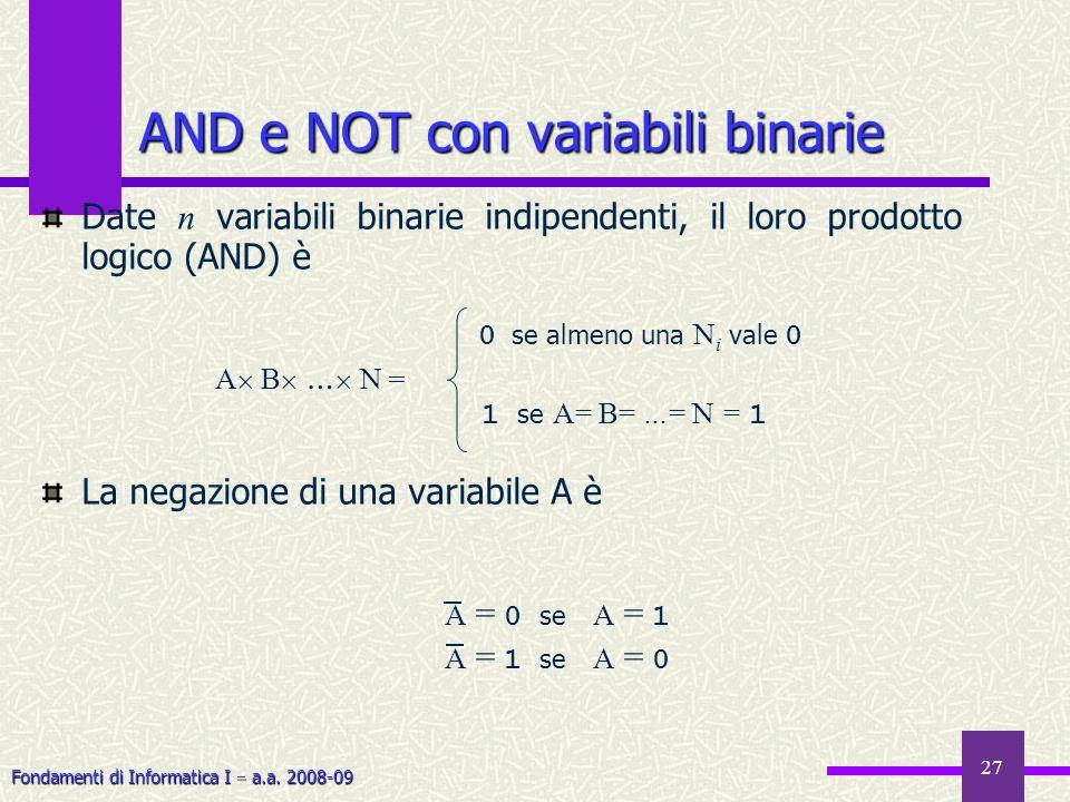 Fondamenti di Informatica I a.a. 2008-09 27 AND e NOT con variabili binarie A B … N = 0 se almeno una N i vale 0 1 se A= B= …= N = 1 Date n variabili