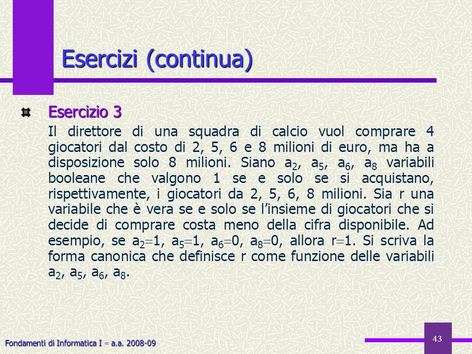 Fondamenti di Informatica I a.a. 2008-09 43 Esercizi (continua) Esercizio 3 Il direttore di una squadra di calcio vuol comprare 4 giocatori dal costo