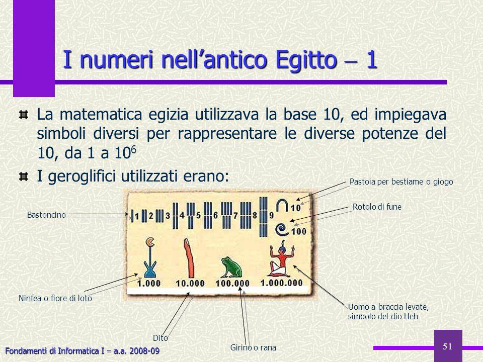 Fondamenti di Informatica I a.a. 2008-09 51 I numeri nellantico Egitto 1 La matematica egizia utilizzava la base 10, ed impiegava simboli diversi per