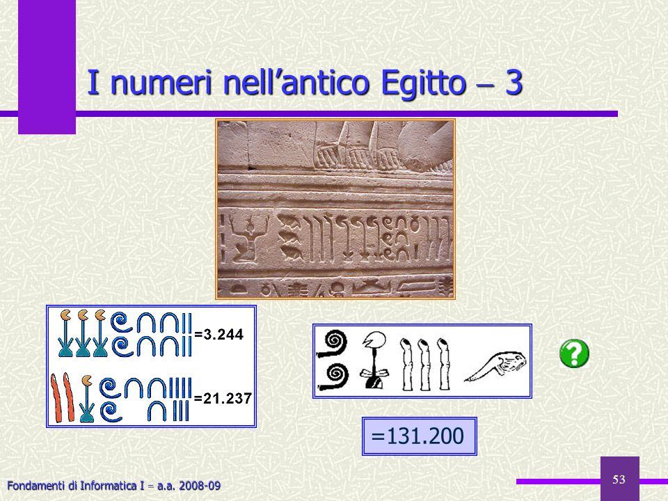 Fondamenti di Informatica I a.a. 2008-09 53 I numeri nellantico Egitto 3 =131.200