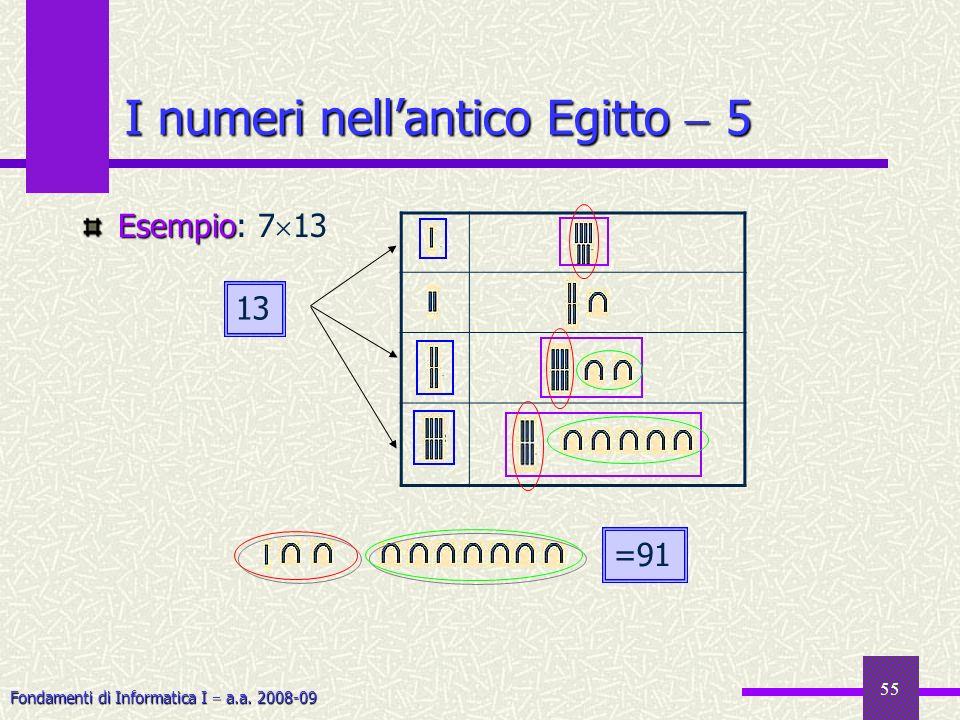 Fondamenti di Informatica I a.a. 2008-09 55 I numeri nellantico Egitto 5 Esempio Esempio: 7 13 13 =91