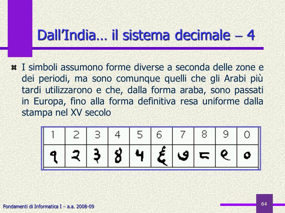 Fondamenti di Informatica I a.a. 2008-09 64 DallIndia… il sistema decimale 4 I simboli assumono forme diverse a seconda delle zone e dei periodi, ma s