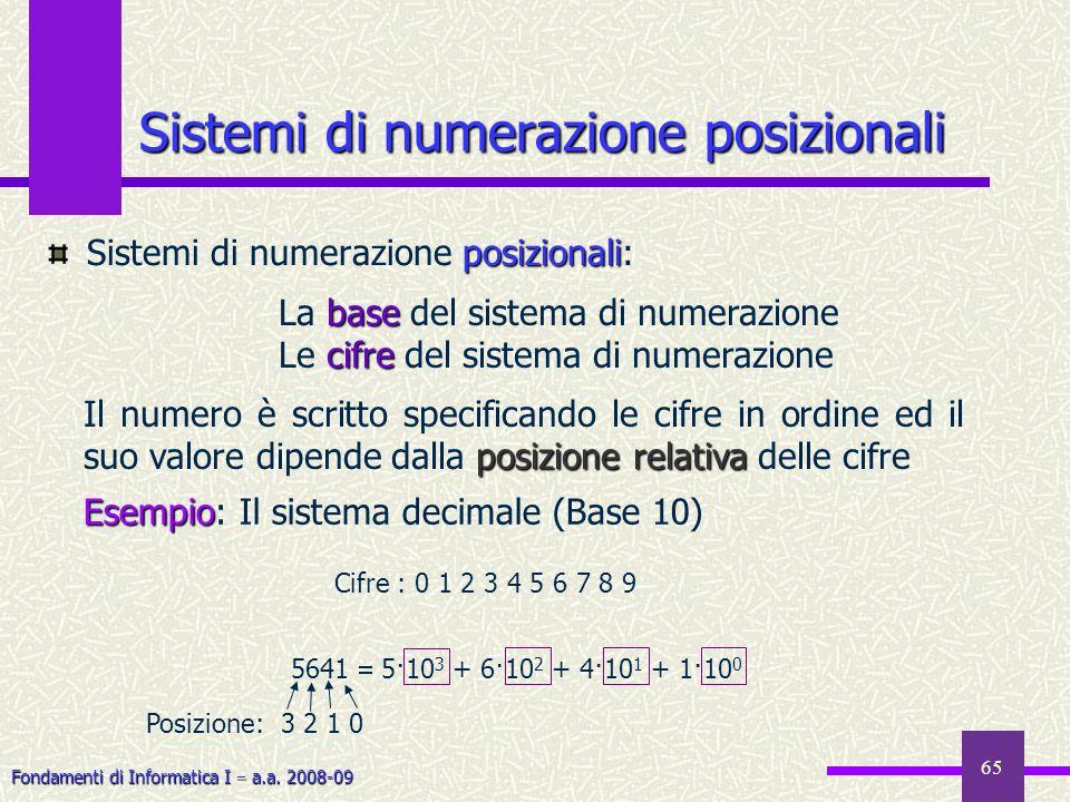 Fondamenti di Informatica I a.a. 2008-09 65 Sistemi di numerazione posizionali posizionali Sistemi di numerazione posizionali: base La base del sistem