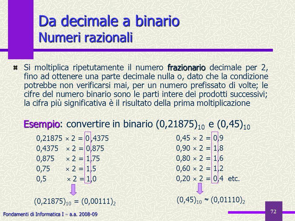 Fondamenti di Informatica I a.a. 2008-09 72 frazionario Si moltiplica ripetutamente il numero frazionario decimale per 2, fino ad ottenere una parte d