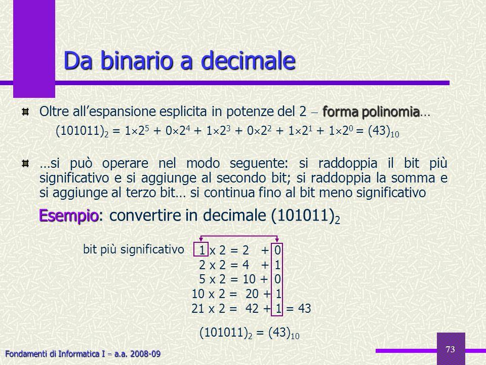Fondamenti di Informatica I a.a. 2008-09 73 Da binario a decimale forma polinomia Oltre allespansione esplicita in potenze del 2 forma polinomia… …si