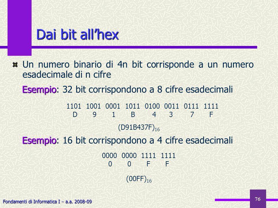 Fondamenti di Informatica I a.a. 2008-09 76 Dai bit allhex Un numero binario di 4n bit corrisponde a un numero esadecimale di n cifre Esempio Esempio: