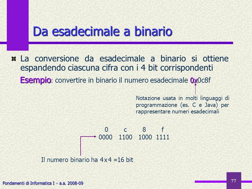 Fondamenti di Informatica I a.a. 2008-09 77 Da esadecimale a binario La conversione da esadecimale a binario si ottiene espandendo ciascuna cifra con