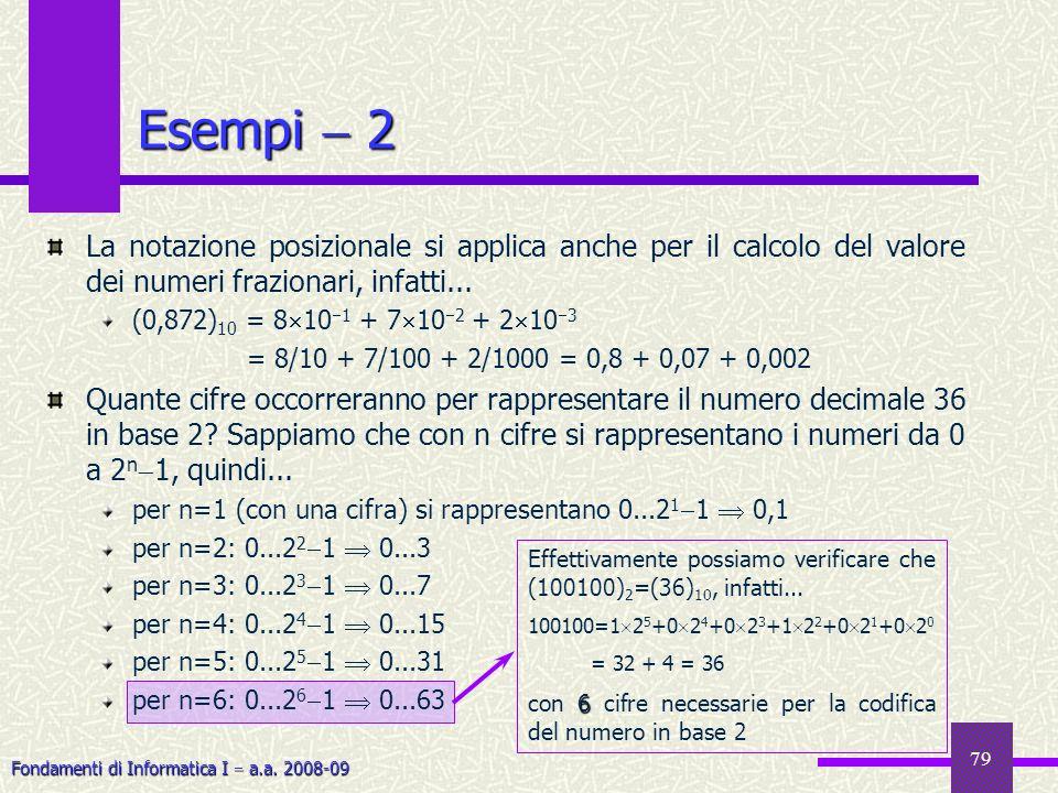 Fondamenti di Informatica I a.a. 2008-09 79 Esempi 2 La notazione posizionale si applica anche per il calcolo del valore dei numeri frazionari, infatt