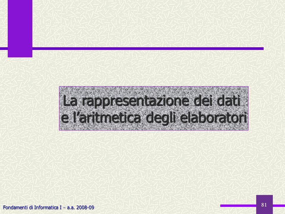 Fondamenti di Informatica I a.a. 2008-09 81 La rappresentazione dei dati e laritmetica degli elaboratori