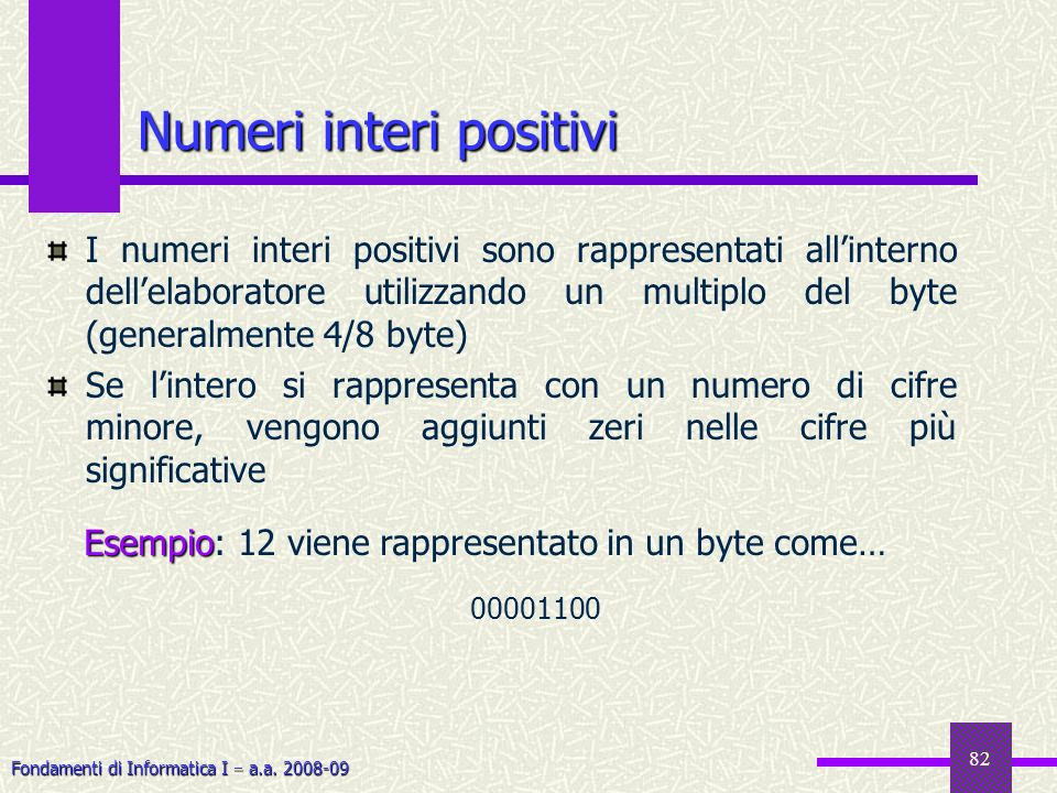 Fondamenti di Informatica I a.a. 2008-09 82 Numeri interi positivi I numeri interi positivi sono rappresentati allinterno dellelaboratore utilizzando