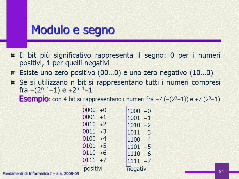 Fondamenti di Informatica I a.a. 2008-09 84 Modulo e segno Il bit più significativo rappresenta il segno: 0 per i numeri positivi, 1 per quelli negati