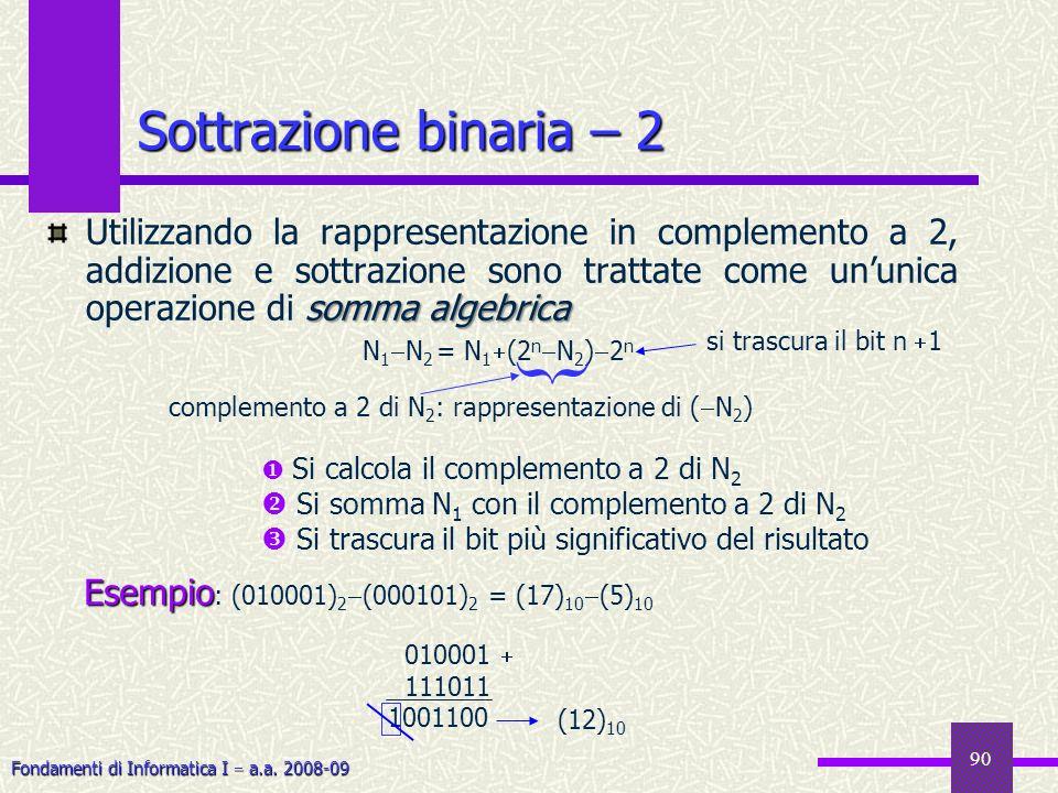 Fondamenti di Informatica I a.a. 2008-09 90 Sottrazione binaria – 2 somma algebrica Utilizzando la rappresentazione in complemento a 2, addizione e so