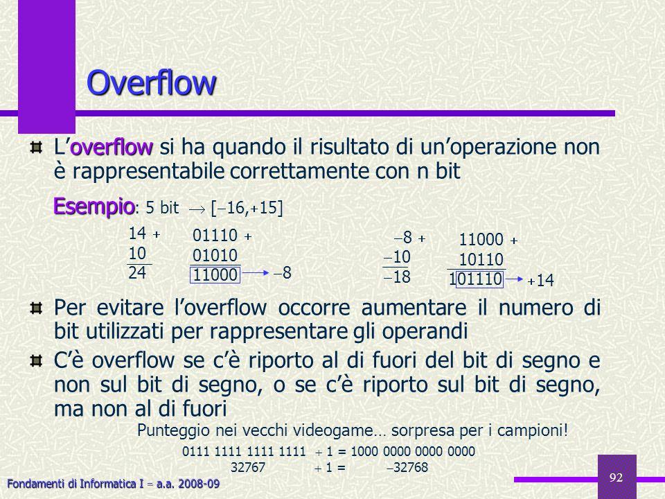 Fondamenti di Informatica I a.a. 2008-09 92 Overflow overflow Loverflow si ha quando il risultato di unoperazione non è rappresentabile correttamente