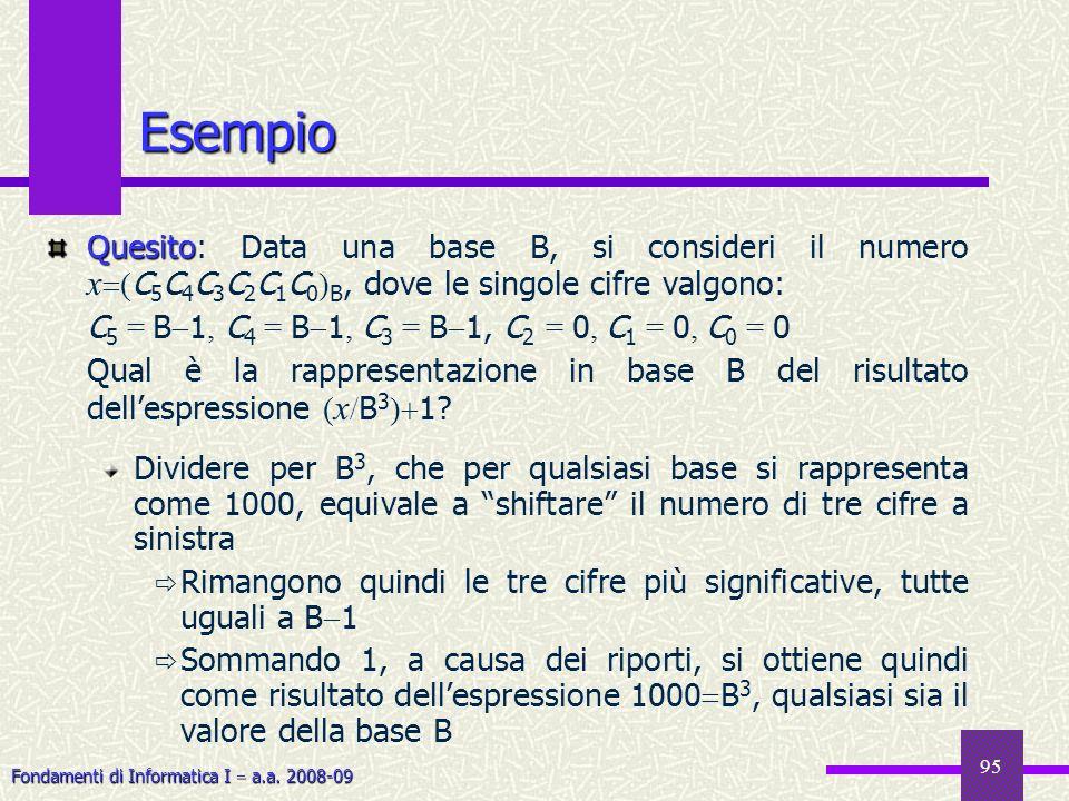 Fondamenti di Informatica I a.a. 2008-09 95 Esempio Quesito Quesito: Data una base B, si consideri il numero x ( C 5 C 4 C 3 C 2 C 1 C 0 ) B, dove le