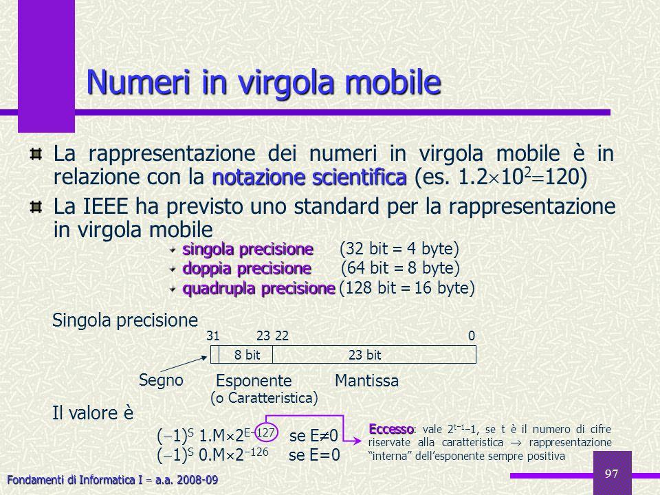 Fondamenti di Informatica I a.a. 2008-09 97 Numeri in virgola mobile notazione scientifica La rappresentazione dei numeri in virgola mobile è in relaz