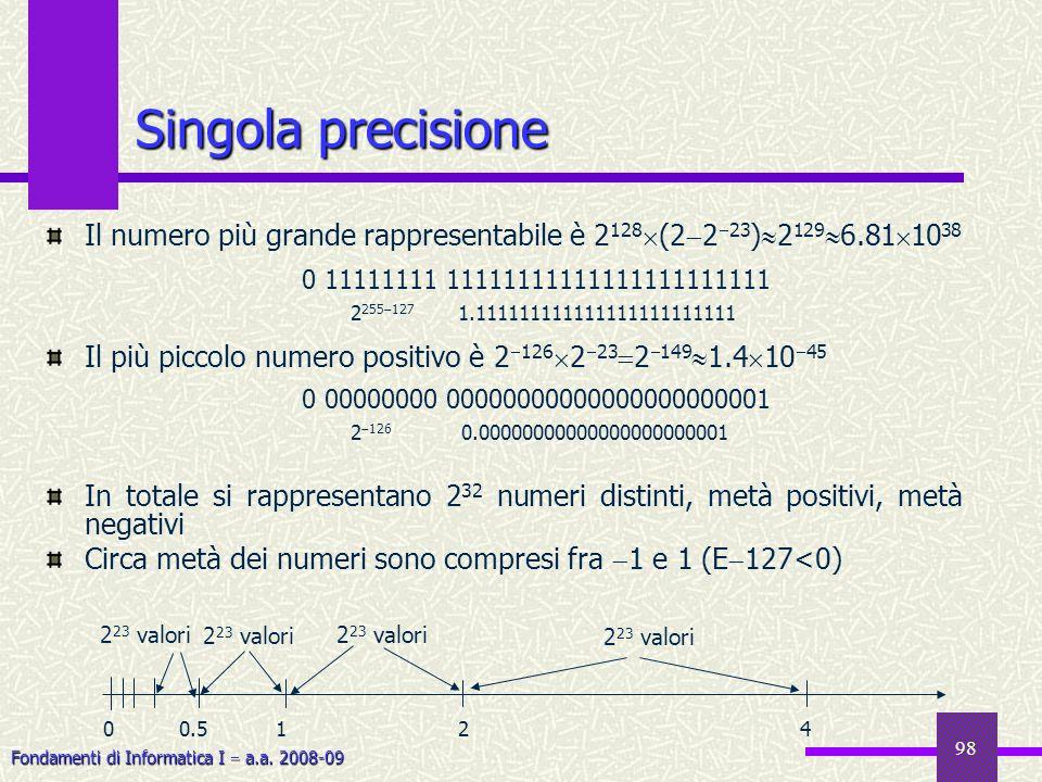 Fondamenti di Informatica I a.a. 2008-09 98 Singola precisione Il numero più grande rappresentabile è 2 128 (2 2 23 ) 2 129 6.81 10 38 Il più piccolo