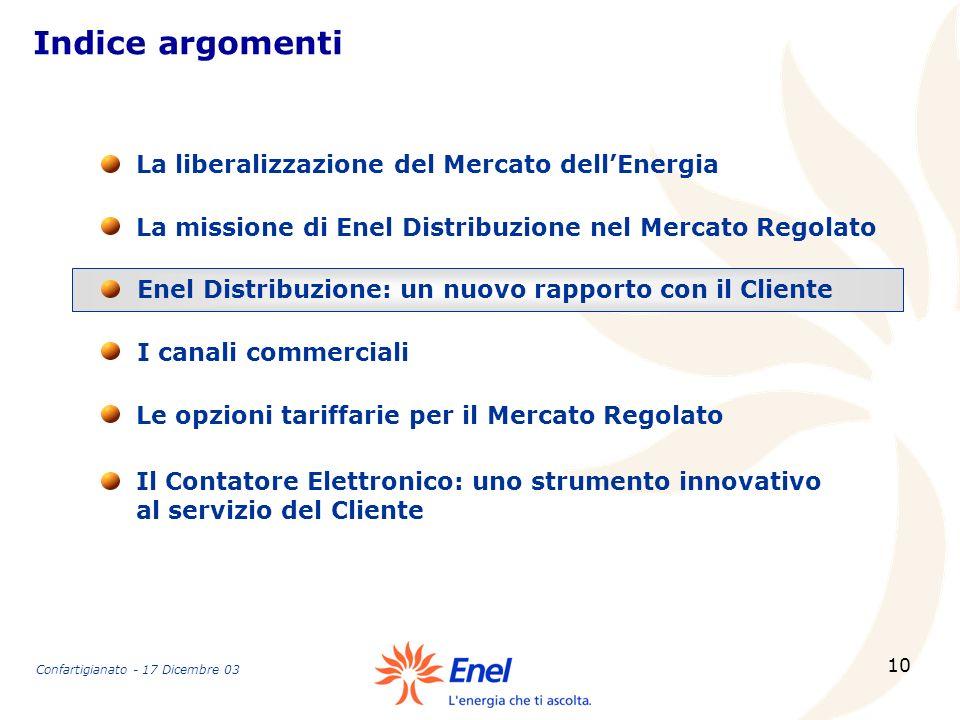 10 Indice argomenti La missione di Enel Distribuzione nel Mercato Regolato La liberalizzazione del Mercato dellEnergia Enel Distribuzione: un nuovo ra