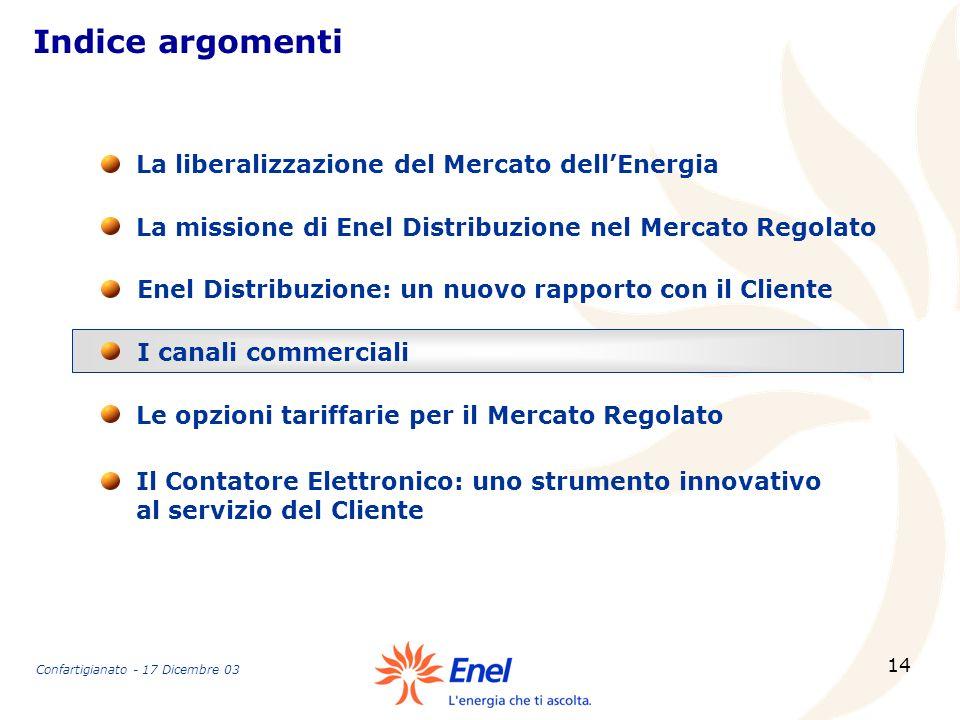 14 Indice argomenti La missione di Enel Distribuzione nel Mercato Regolato La liberalizzazione del Mercato dellEnergia Enel Distribuzione: un nuovo ra