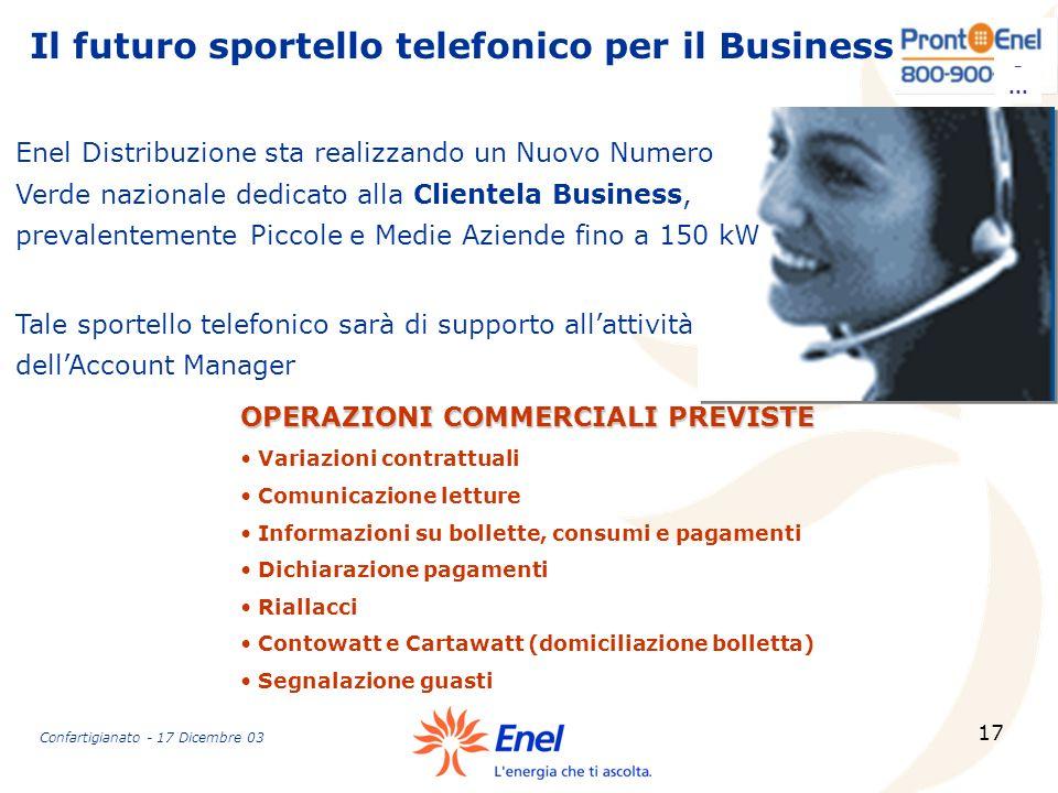 17 Il futuro sportello telefonico per il Business -... OPERAZIONI COMMERCIALI PREVISTE Variazioni contrattuali Comunicazione letture Informazioni su b