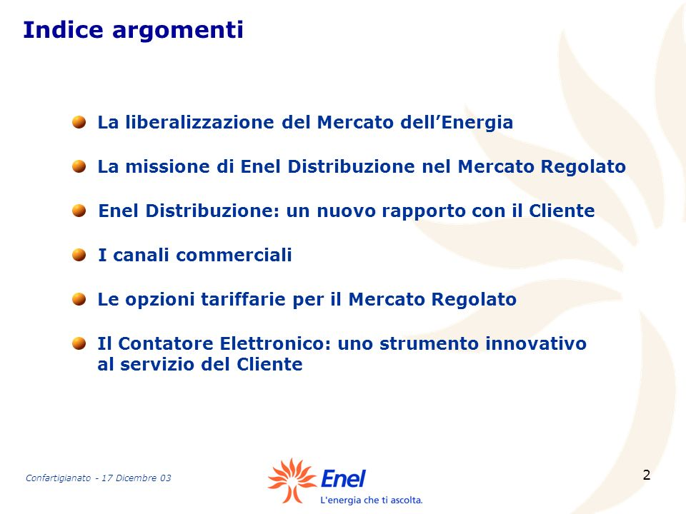 2 Indice argomenti La missione di Enel Distribuzione nel Mercato Regolato La liberalizzazione del Mercato dellEnergia Enel Distribuzione: un nuovo rap