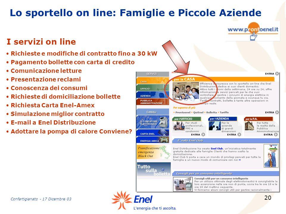 20 Lo sportello on line: Famiglie e Piccole Aziende Richieste e modifiche di contratto fino a 30 kW Pagamento bollette con carta di credito Comunicazi