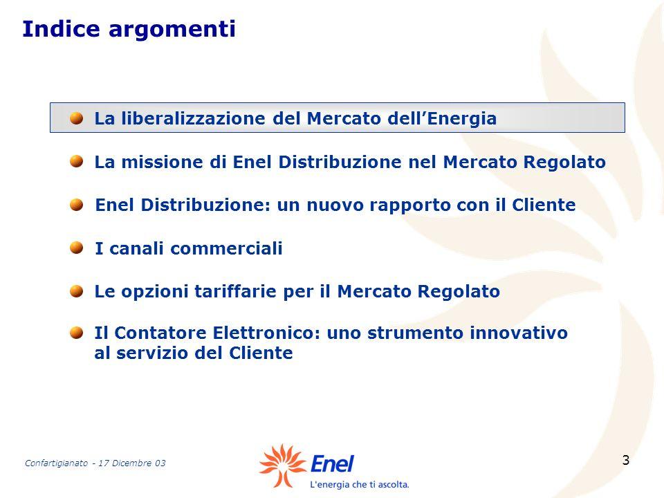 3 Indice argomenti La missione di Enel Distribuzione nel Mercato Regolato La liberalizzazione del Mercato dellEnergia Enel Distribuzione: un nuovo rap