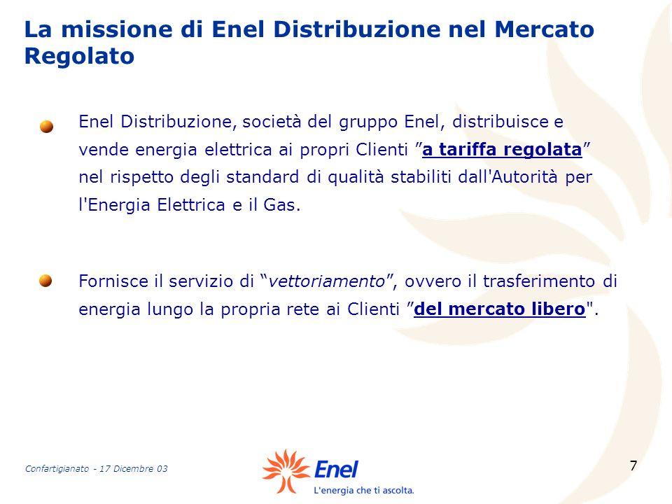 7 La missione di Enel Distribuzione nel Mercato Regolato Fornisce il servizio di vettoriamento, ovvero il trasferimento di energia lungo la propria re