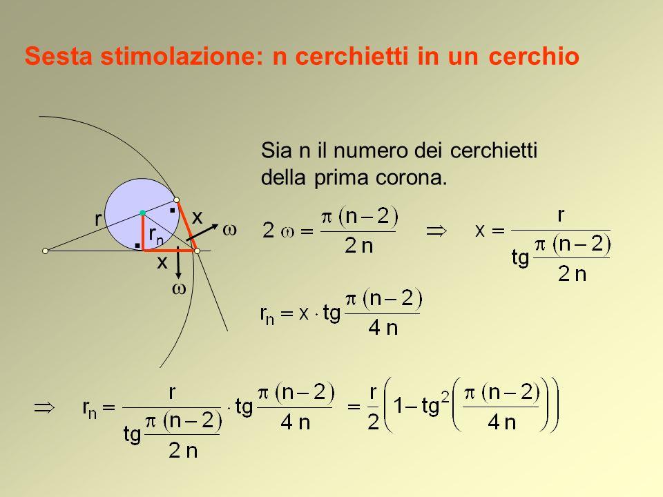 Sesta stimolazione: n cerchietti in un cerchio Sia n il numero dei cerchietti della prima corona.. rnrn r x x.