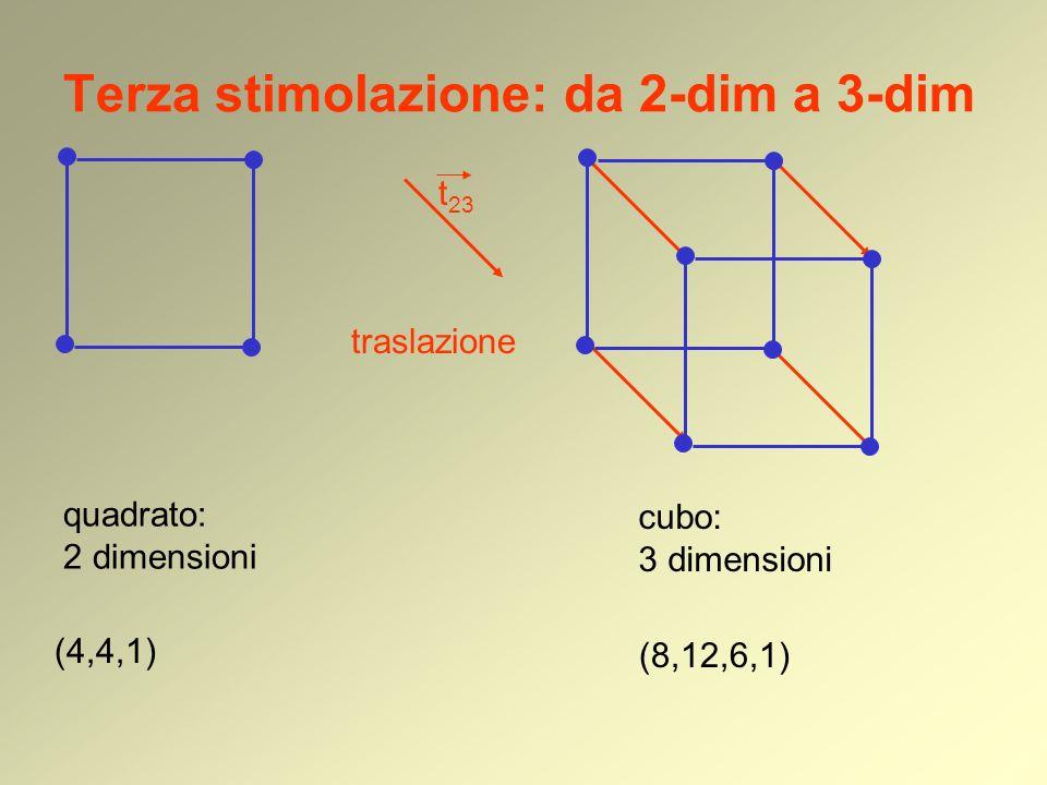 Terza stimolazione: da 2-dim a 3-dim quadrato: 2 dimensioni (4,4,1) traslazione cubo: 3 dimensioni t 23 (8,12,6,1)