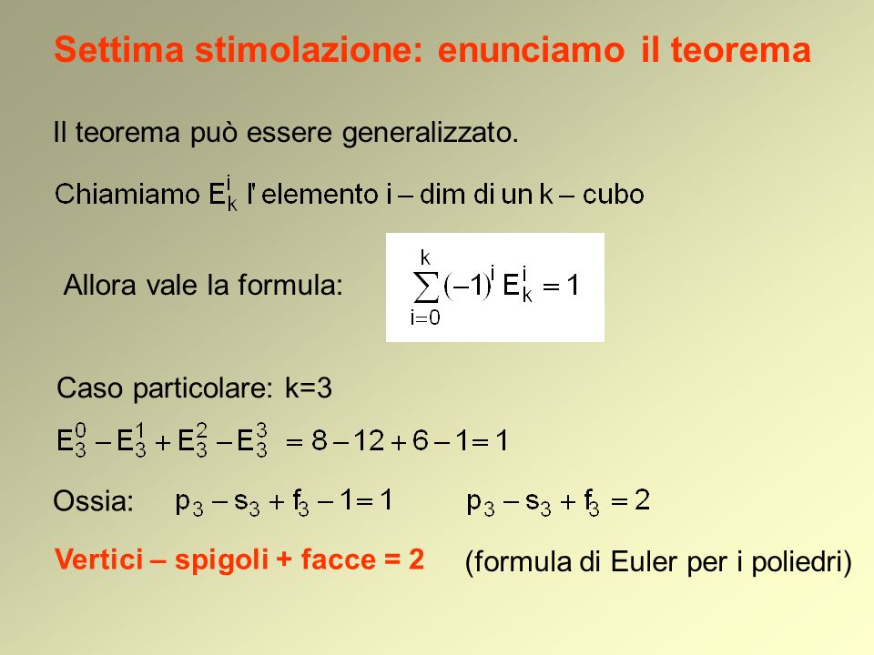 Il teorema può essere generalizzato. Allora vale la formula: Settima stimolazione: enunciamo il teorema Caso particolare: k=3 Ossia: Vertici – spigoli