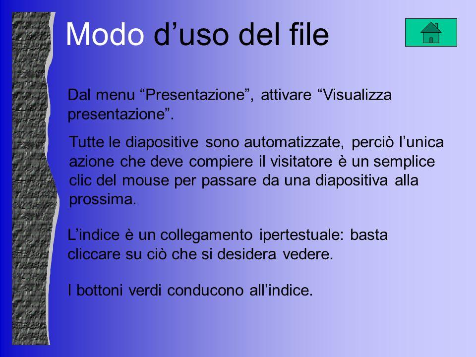 Modo duso del file Tutte le diapositive sono automatizzate, perciò lunica azione che deve compiere il visitatore è un semplice clic del mouse per pass