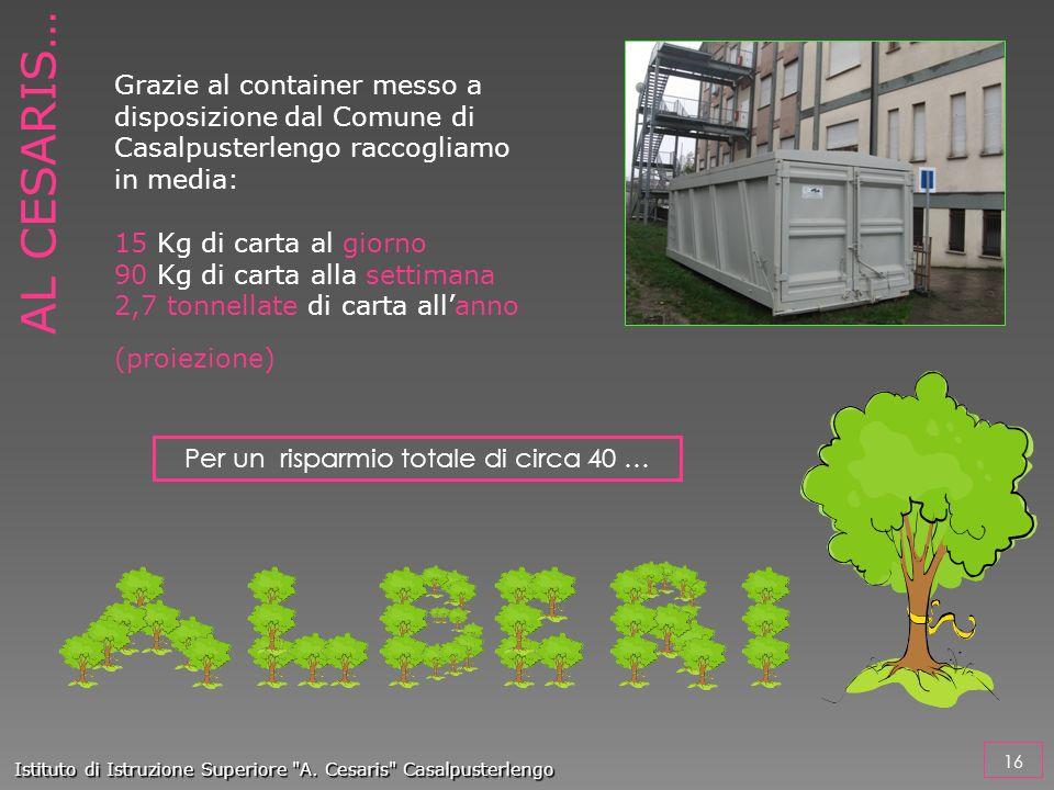 Grazie al container messo a disposizione dal Comune di Casalpusterlengo raccogliamo in media: 15 Kg di carta al giorno 90 Kg di carta alla settimana 2
