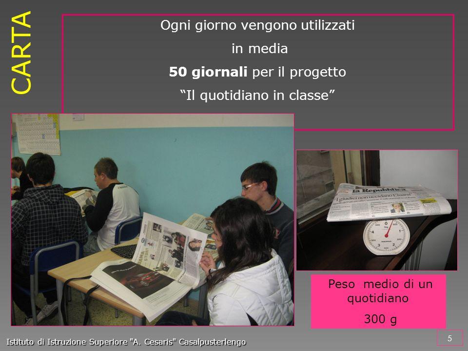 Ogni giorno vengono utilizzati in media 50 giornali per il progetto Il quotidiano in classe 5 Istituto di Istruzione Superiore