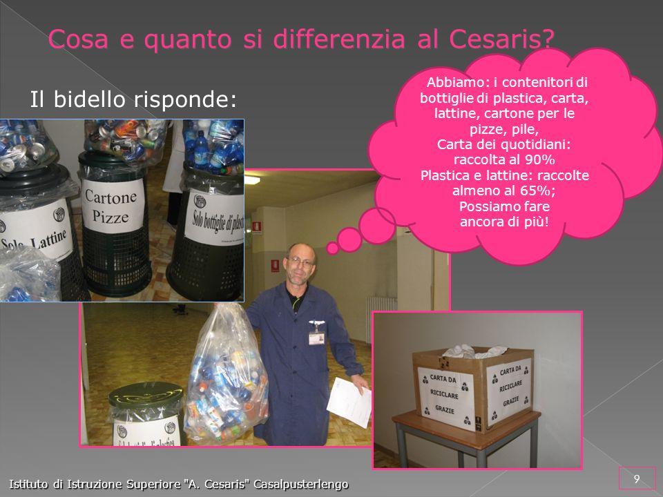 Il bidello risponde: Abbiamo: i contenitori di bottiglie di plastica, carta, lattine, cartone per le pizze, pile, Carta dei quotidiani: raccolta al 90