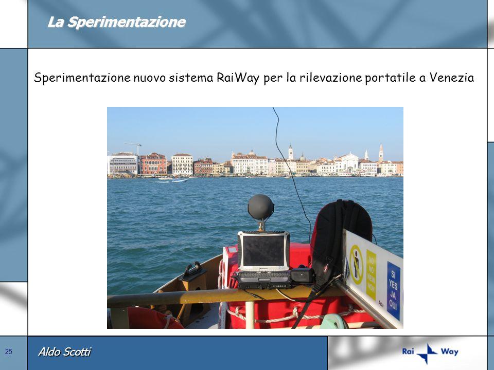 Aldo Scotti 25 La Sperimentazione Sperimentazione nuovo sistema RaiWay per la rilevazione portatile a Venezia
